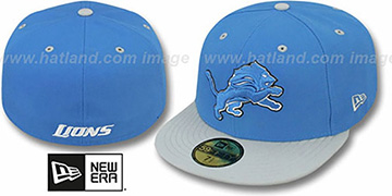 Lions NFL 2T-TEAM-BASIC Blue-Grey Fitted Hat by New Era