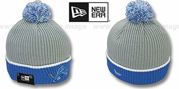 Lions 'NFL FIRESIDE' Grey-Blue Knit Beanie Hat by New Era