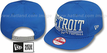 Lions NFL LATERAL SNAPBACK Blue Hat by New Era