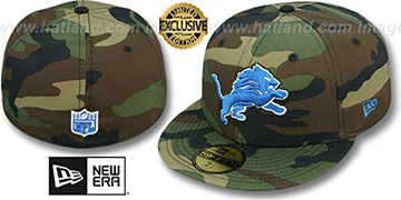 Lions NFL TEAM-BASIC Army Camo Fitted Hat by New Era