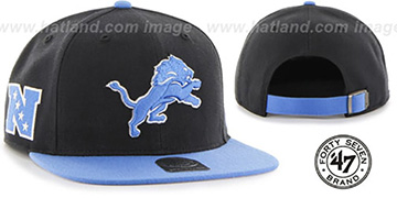 Lions 'SUPER-SHOT STRAPBACK' Blue-Black Hat by Twins 47 Brand