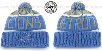 Lions THE-CALGARY Blue-Grey Knit Beanie Hat by Twins 47 Brand