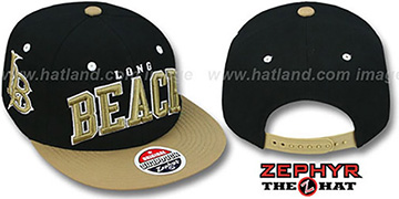 Long Beach '2T SUPER-ARCH SNAPBACK' Black-Gold Adjustable Hat by Zephyr