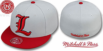 Louisville 2T XL-LOGO Grey-Red Fitted Hat by Mitchell and Ness