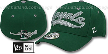 Loyola SWOOP LACROSSE Green Fitted Hat by Zephyr
