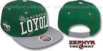 Loyola 'LACROSSE SUPER-ARCH SNAPBACK' Green-Grey Hat by Zephyr