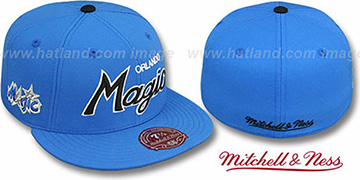 Magic CLASSIC-SCRIPT Blue Fitted Hat by Mitchell & Ness