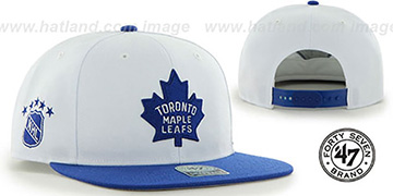 Maple Leafs 'SURE-SHOT SNAPBACK' White-Royal Hat by Twins 47 Brand