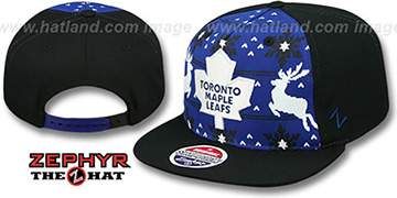 Maple Leafs UGLY SWEATER SNAPBACK Black-Royal Hat by Zephyr
