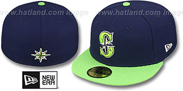 Mariners 2T OPPOSITE-TEAM Navy-Lime Fitted Hat by New Era