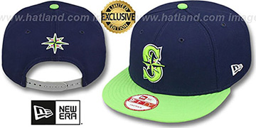 Mariners '2T OPPOSITE-TEAM SNAPBACK' Navy-Lime Hat by New Era