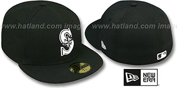 Mariners 'TEAM-BASIC' Black-White Fitted Hat by New Era