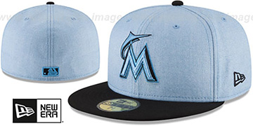Marlins '2018 FATHERS DAY' Sky-Black Fitted Hat by New Era
