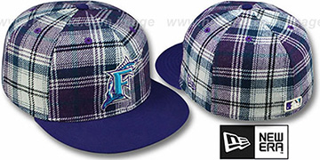 Marlins '2T PLAIDZ' Purple Fitted Hat by New Era