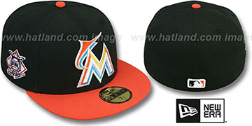 Marlins 'BAYCIK' Black-Orange Fitted Hat by New Era