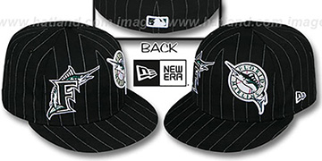 Marlins 'BIG-ONE DOUBLE WHAMMY' Black-White Fitted Hat