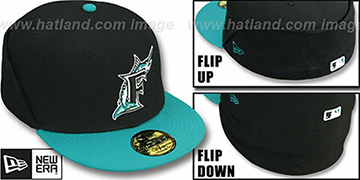 Marlins 'CLEAN CUT FLIP-DOWN' Black-Teal Fitted Hat by New Era