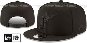 Marlins COOPERSTOWN TEAM-BASIC BLACKOUT SNAPBACK Hat by New Era