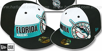 Marlins 'FOUL BALL' White-Black Fitted Hat by New Era