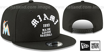 Marlins 'GOTHIC-ARCH SNAPBACK' Black Hat by New Era
