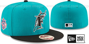 Marlins 'MLB COOPERSTOWN WOOL-STANDARD' Teal-Black Fitted Hat by New Era