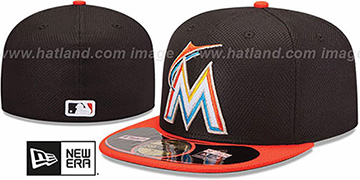 Marlins 'MLB DIAMOND ERA' 59FIFTY Black-Orange BP Hat by New Era