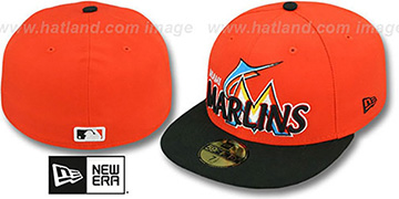 Marlins MLB-TIGHT Orange-Black Fitted Hat by New Era