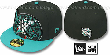Marlins 'NEW MIXIN' Black-Teal Fitted Hat by New Era