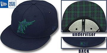 Marlins 'QS UNDER PLAID 2' Navy-Green Fitted Hat by New Era