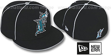 Marlins REPEAT BIG-ONE Black Fitted Hat by New Era