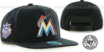 Marlins 'SURE-SHOT SNAPBACK' Black Hat by Twins 47 Brand