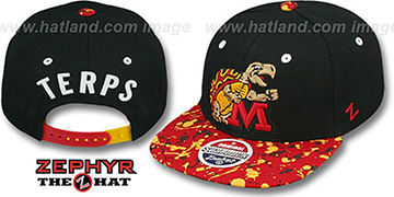 Maryland '2T SPLATTER SNAPBACK' Black-Red Hat by Zephyr