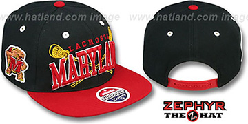 Maryland 'LACROSSE SUPER-ARCH SNAPBACK' Black-Red Hat by Zephyr