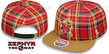 Maryland MASCOT GAELIC PLAID SNAPBACK Red-Khaki Hat by Zephyr