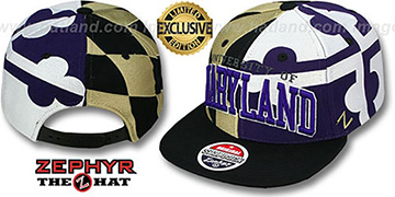 Maryland SUPER-FLAG SNAPBACK Black-Gold-Purple Hat by Zephyr