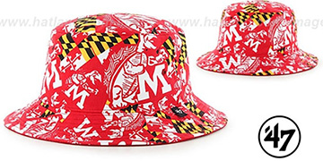 Maryland THROWBACK BRAVADO BUCKET Red Hat by Twins 47 Brand
