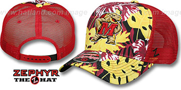Maryland 'TROPICAL MESH SNAPBACK' Red-Gold Hat by Zephyr