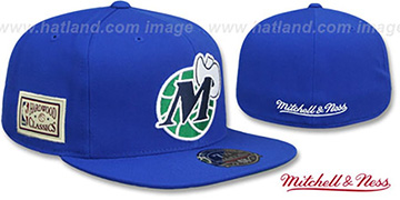 Mavericks 'HWC SIDE-PATCH' Royal Fitted Hat by Mitchell and Ness