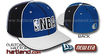 Mavericks NBA 'PINWHEEL-3' Royal-Black-White Fitted Hat