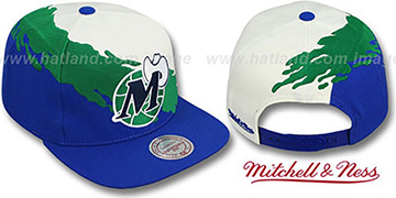 Mavericks 'PAINTBRUSH SNAPBACK' White-Green-Royal Hat by Mitchell & Ness