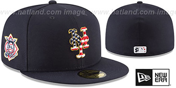 Mets '2018 JULY 4TH STARS N STRIPES' Navy Fitted Hat by New Era