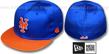 Mets 2T SATIN CLASSIC Royal-Orange Fitted Hat by New Era