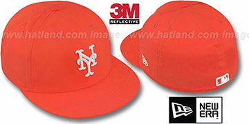 Mets '3M REFLECTIVE' Orange Fitted Hat by New Era