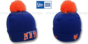 Mets 'ARCHED-RIBBED' Royal Knit Beanie Hat by New Era