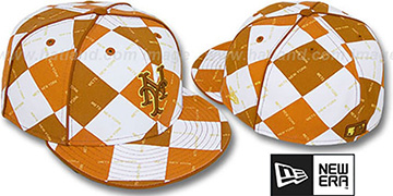 Mets 'ARGYLE WORDMARK' Orange Fitted Hat by New Era