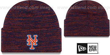 Mets BEVEL Royal-Orange Knit Beanie Hat by New Era