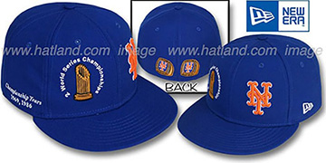 Mets CHAMPIONSHIPS TROPHY Royal Fitted Hat by New Era