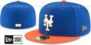 Mets GOLDEN-BADGE Royal-Orange Fitted Hat by New Era
