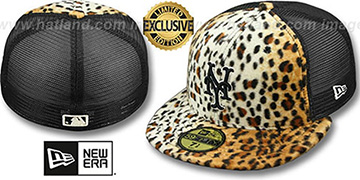 Mets LEOPARD ANIMAL-FUR MESH-BACK Fitted Hat by New Era