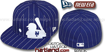 Mets 'MLB SILHOUETTE PINSTRIPE' Royal-White Fitted Hat by New Era